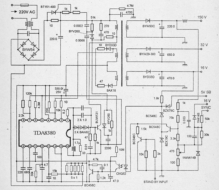 схема блока питания на TDA8380