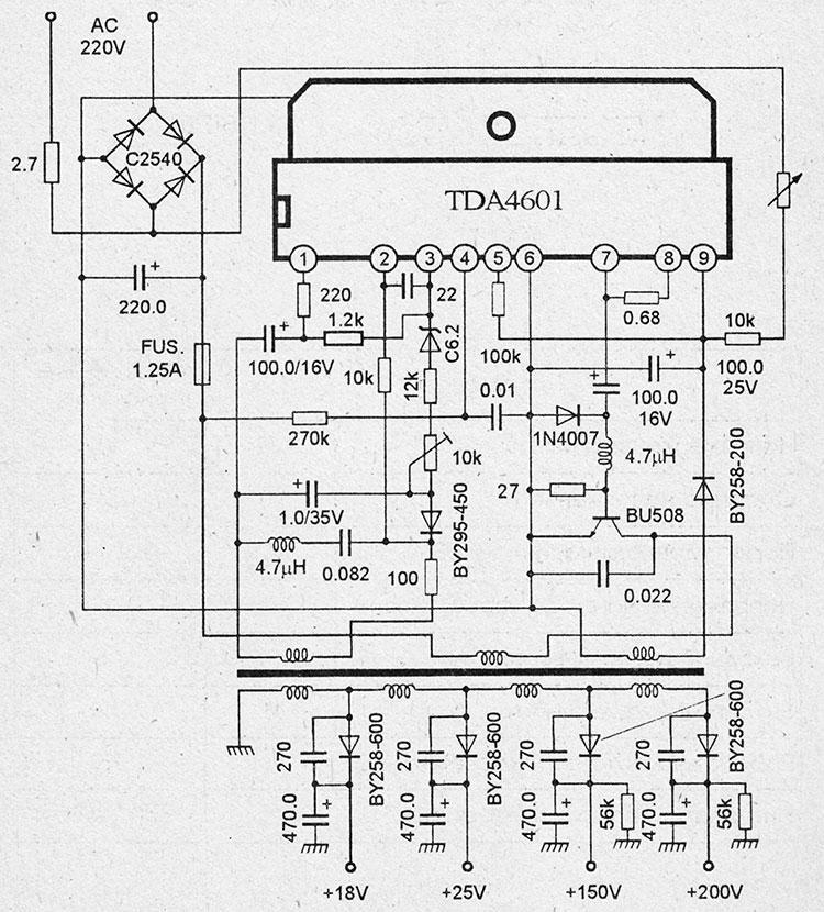 Схема импульсного блока питания на микросхемах tda4601