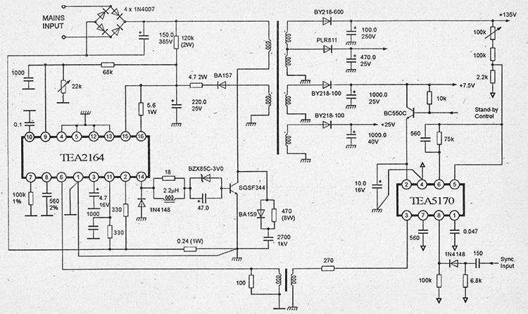 принципиальная схема импульсного блока питания на микросхемах TEA2164 и TEA5170