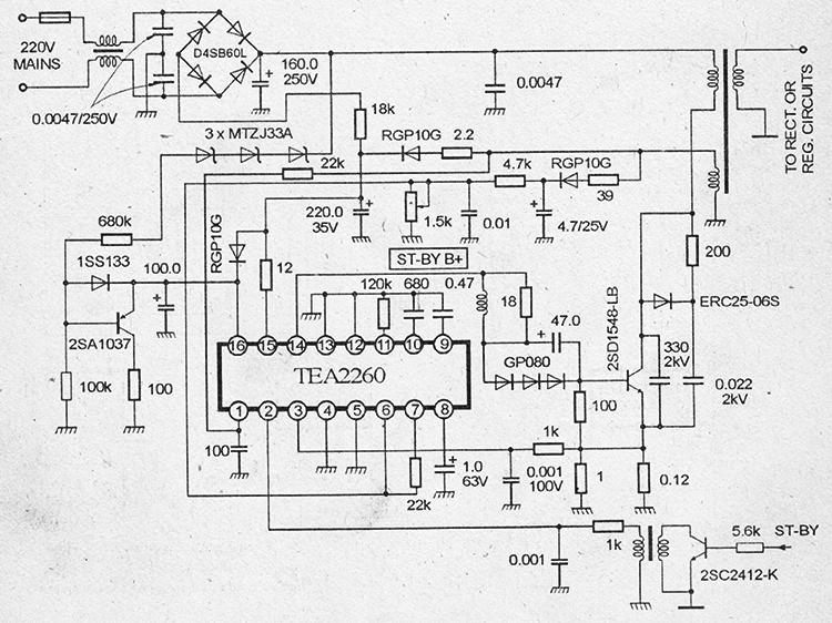 принципиальная схема импульсного блока питания на микросхеме TEA2260/61