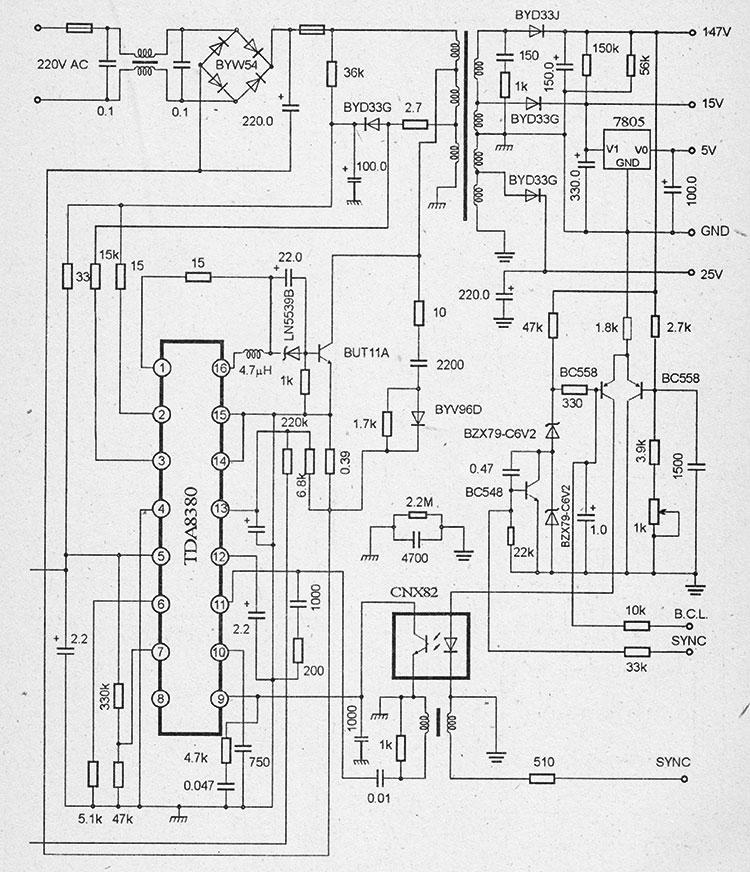принципиальная схема импульсного блока питания на микросхемах TEA2019