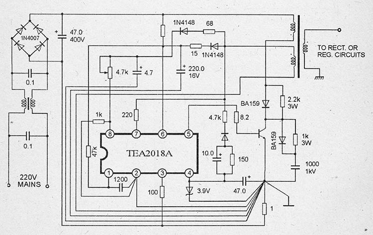 принципиальная схема импульсного блока питания на микросхемах TEA2018a