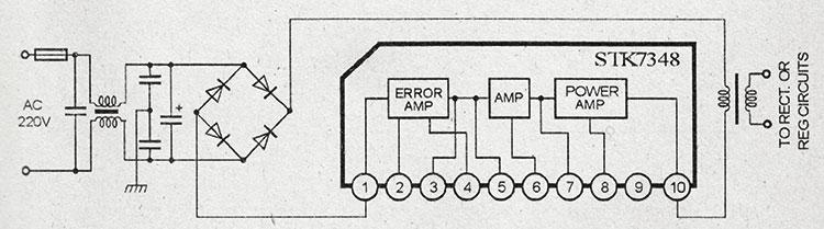 Упрощенная схема блока питания на микросхемах stk7348
