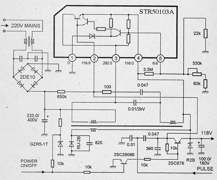 Схема блока питания на микросхемах str50103