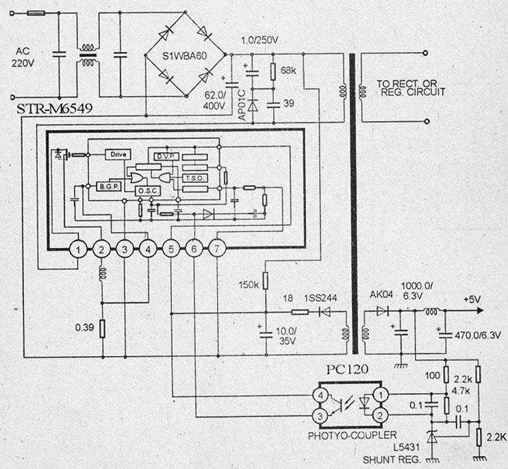 Схема импульсного блока питания на микросхемах str-m6549