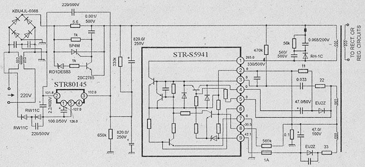 Схема импульсного блока питания на микросхемах str-s5941