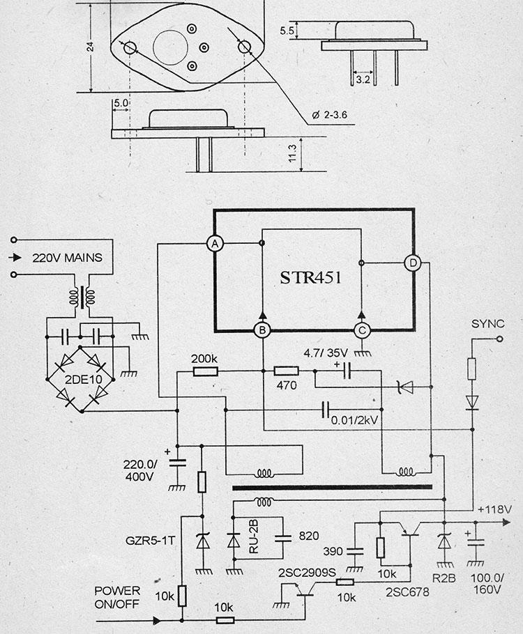 Схема импульсного блока питания на микросхемах str451