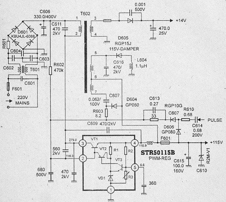 Схема блока питания на микросхемах str50115