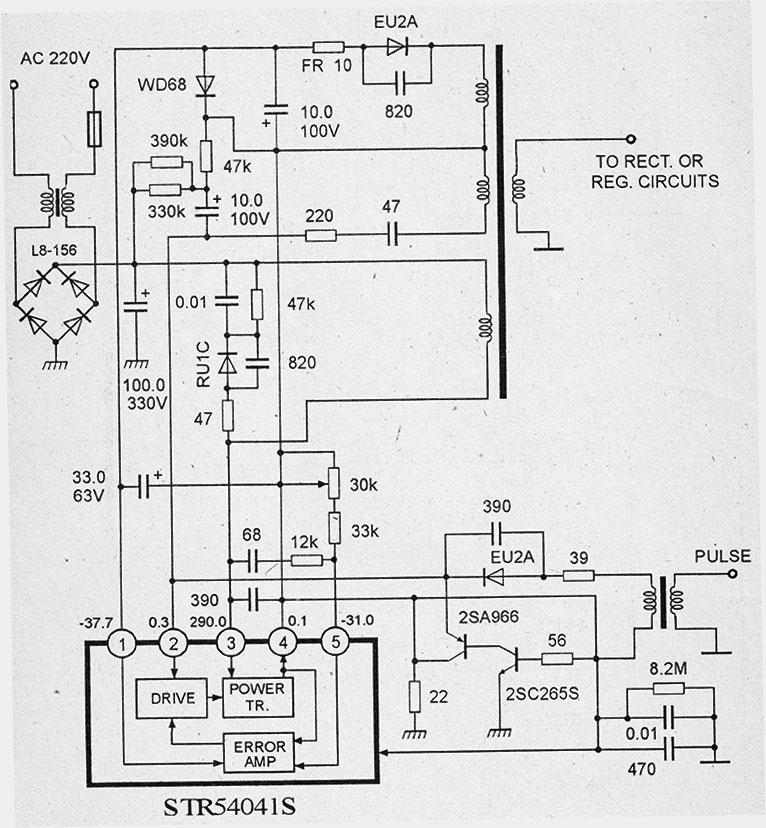 Типовая схема импульсного блока питания на микросхеме str54041 со встроенным силовым ключом