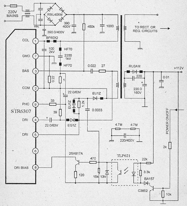 Схема импульсного блока питания на микросхемах str6307