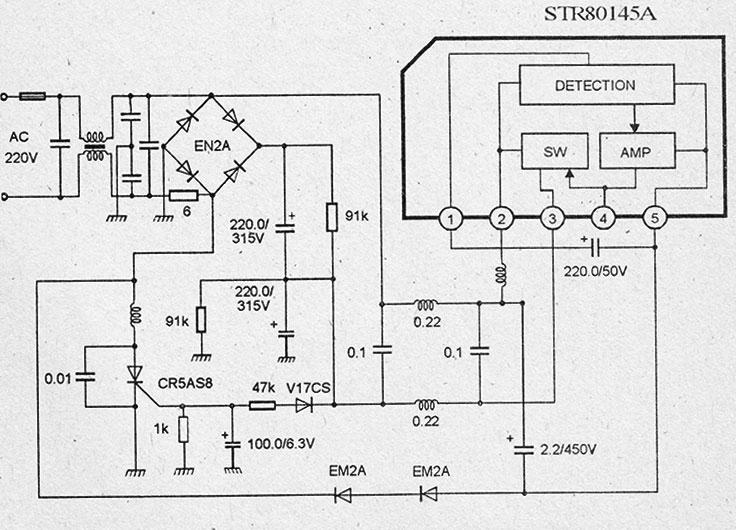 Схема импульсного блока питания на микросхемах str80145a