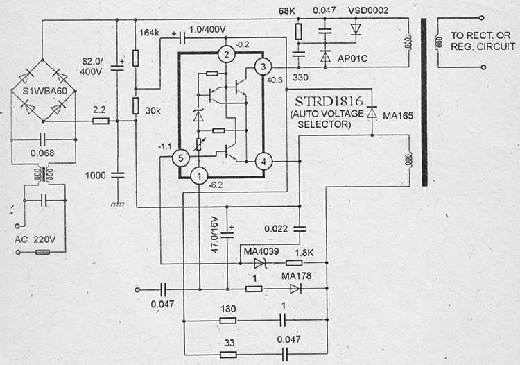 Схема импульсного блока питания на микросхемах strd1816
