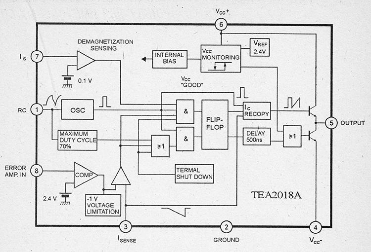 Структурная схема и цоколевка TEA2018