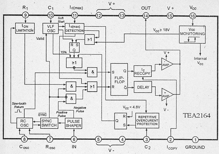 Структурная схема и цоколевка TEA2164
