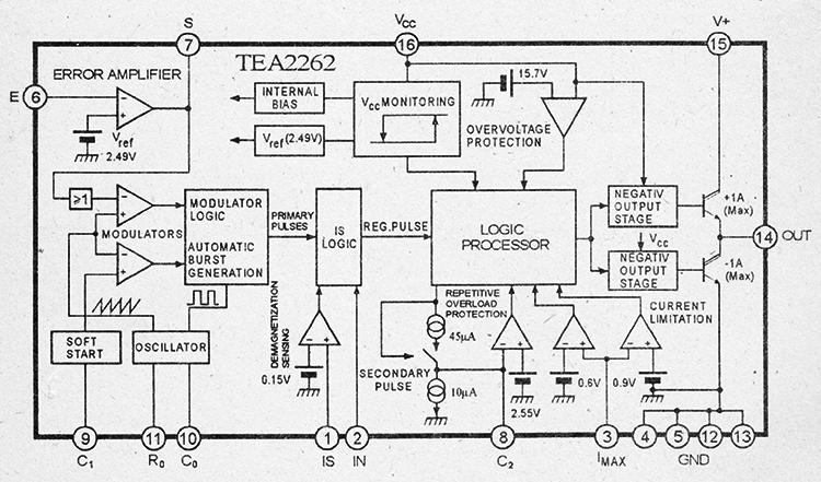 Структурная схема микросхемы tea2262 и назначения выводов