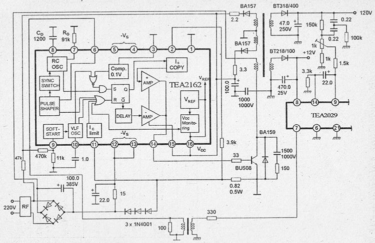 Типовая схема включения в импульсном БП микросхемы tea2162