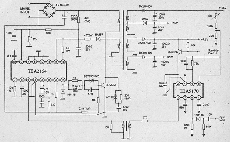 схема импульсного блока питания микросхемах tea2260, tea5170, силовой ключ на транзисторе bzx85c-3v0