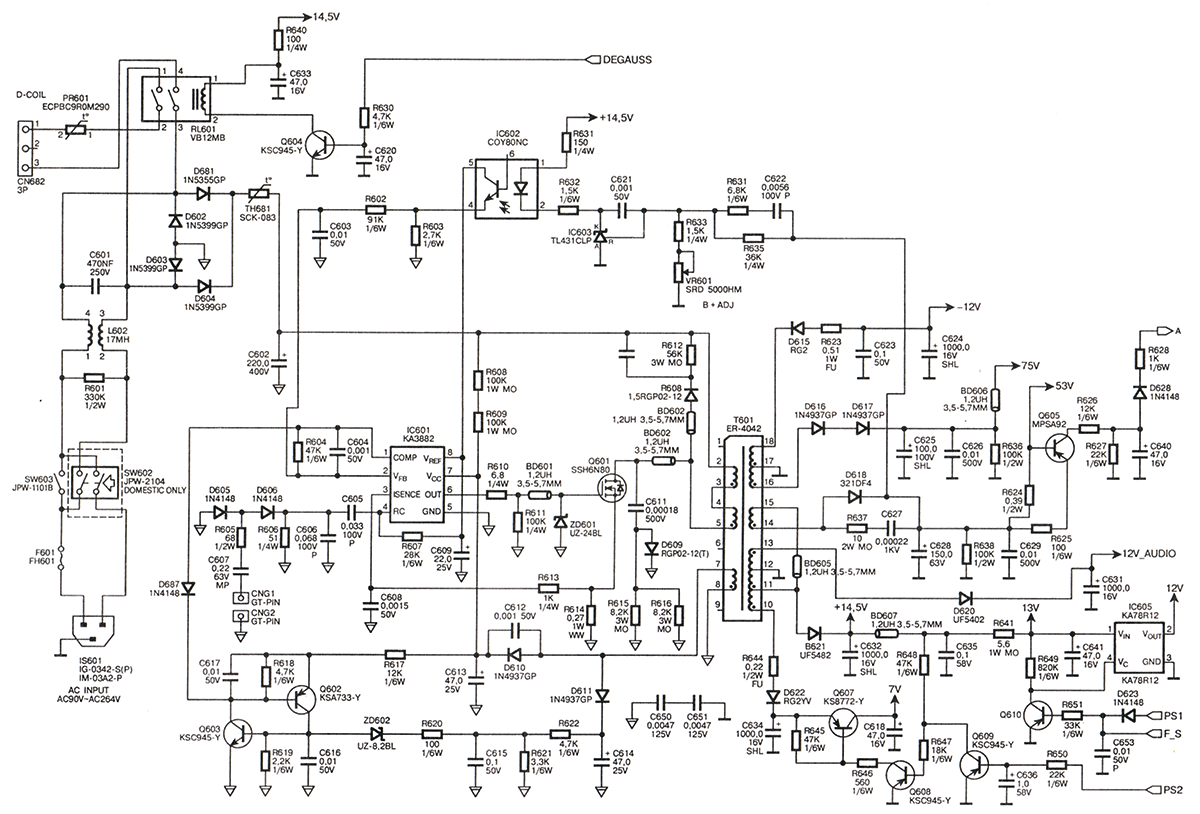схема импульсного блока питания мониторов Samsung моделей SyncMaster 500В width=