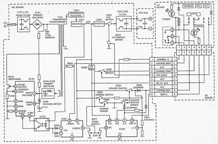 структурная сетевого блока питания Sony AC-V35A для видеокамер