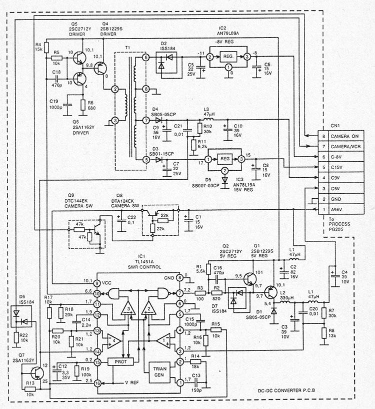 структурная схема блока питания видеокамеры HITACHI VM2300E