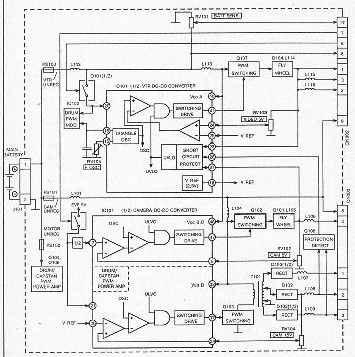 функциональная схема преобразователя питания видеокамеры SONY CCD-TR50E