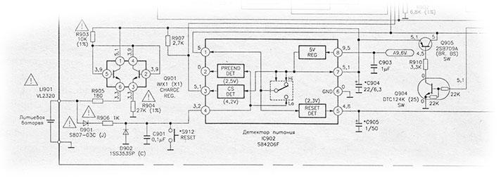 Схема включения микросхемы детектора питания S84206F в видеокамерах, структурная схема и цоколевка микросхемы