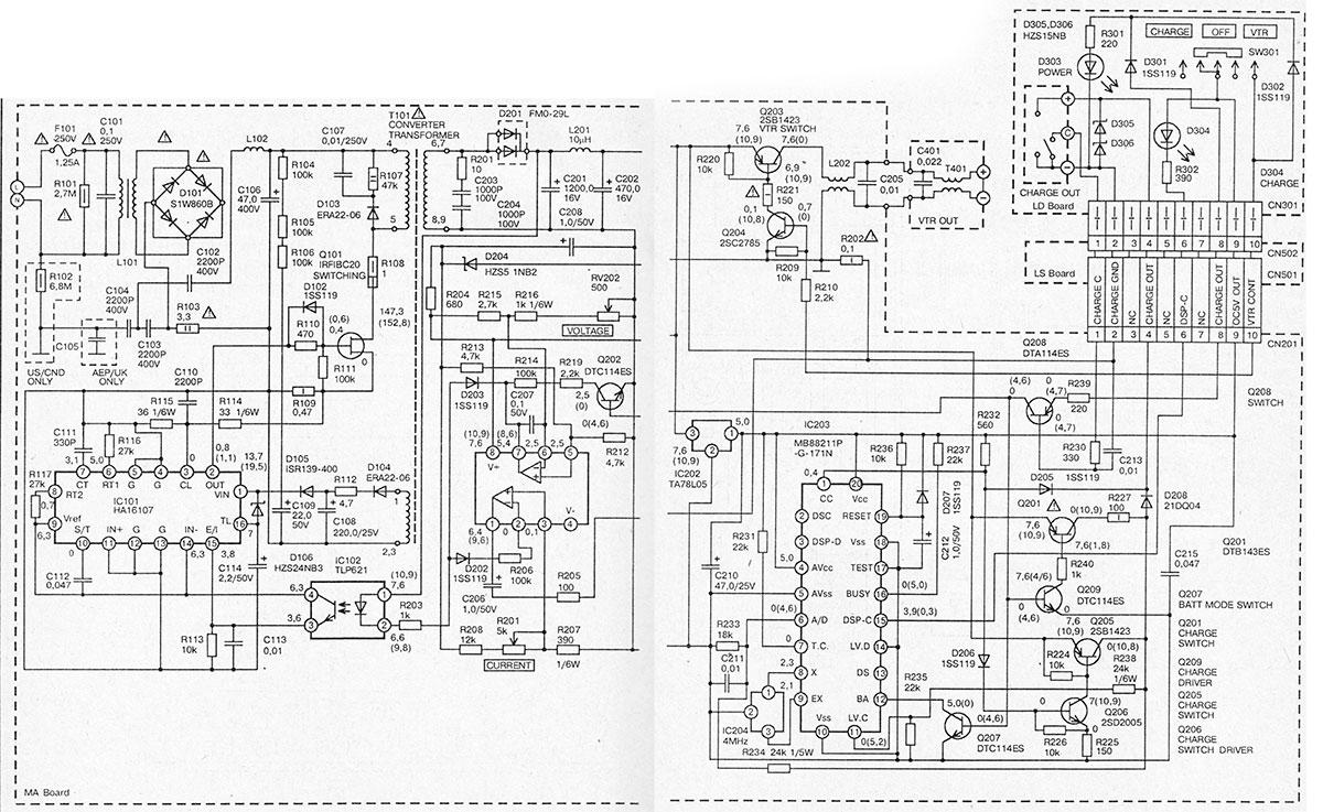Электрическая схема сетевого блока питания Sony AC-V35A