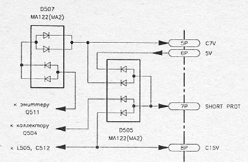 Фрагмент схемы блока питания видеокамеры HITACHI VM-2980E