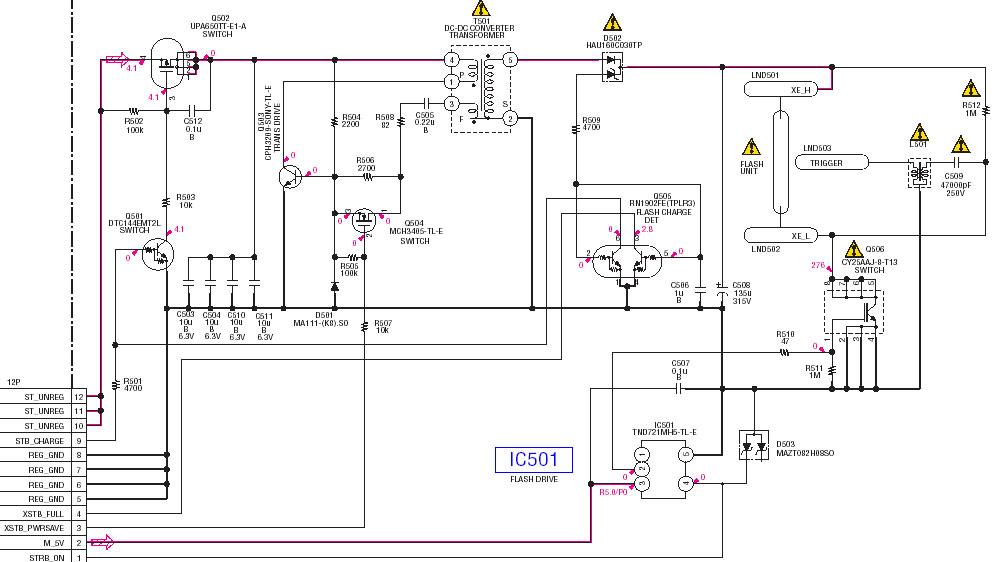 Принципиальная электрическая схема фотовспышки цифрового фотоаппарата Sony DSC P52