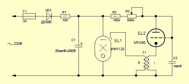 Принципиальная схема стробоскопа на импульсной лампе ИФК-120 и тиратроне МТХ90