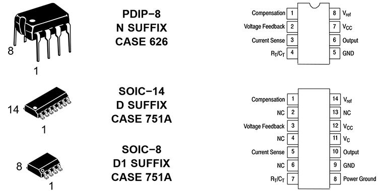 Внешний вид микросхем UC3844, UC3845, UC2844, UC2845, цоколевка и назначение выводов