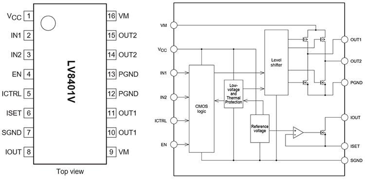 назначение выводов и структура драйвера LV8401