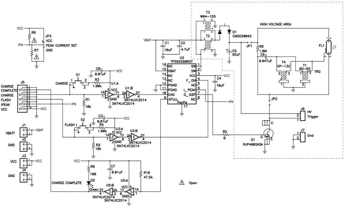электрическая схема вспышки для фототехники на микросхеме TPS65560