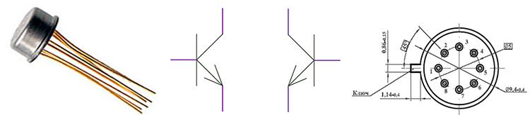 Внешний вид транзисторной сборки К159НТ1Г и нумерация выводов