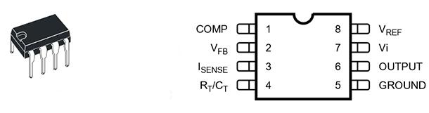 Внешний вид микросхемы KA3882, цоколевка и назначение выводов