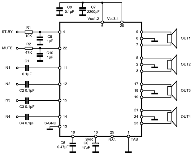 принципиальная схема усилителя на микросхеме TDA7386