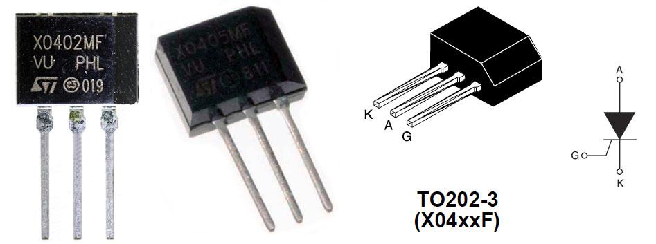 Внешний вид и цоколевка тиристоров серии Х04xxF в корпусе TO202-3
