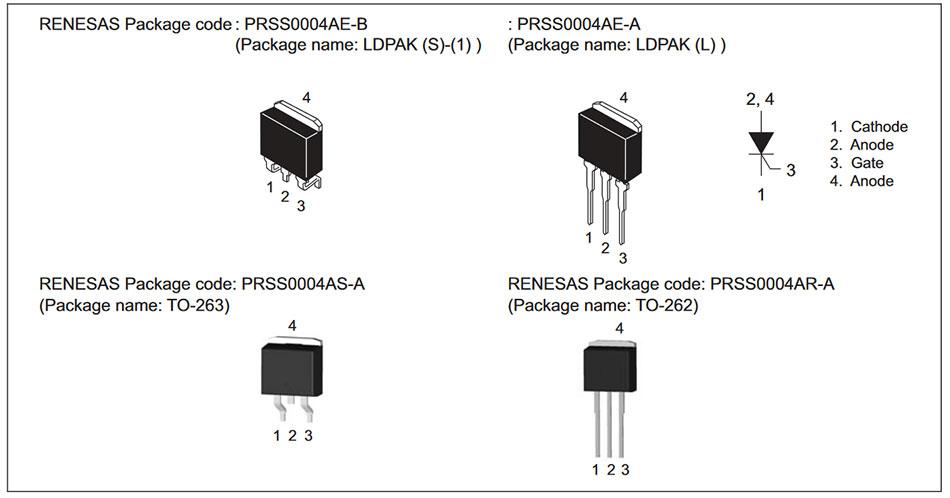 Внешний вид и назначение выводов тиристора CR12CS-16B