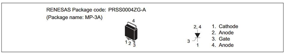 Внешний вид и назначение выводов тиристора CR2AS-16A