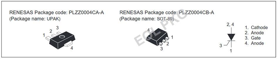 Внешний вид и назначение выводов тиристора CR05AS-4, CR05AS-8