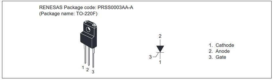 Внешний вид и назначение выводов тиристора CR12PM-12A, CR12PM-12B