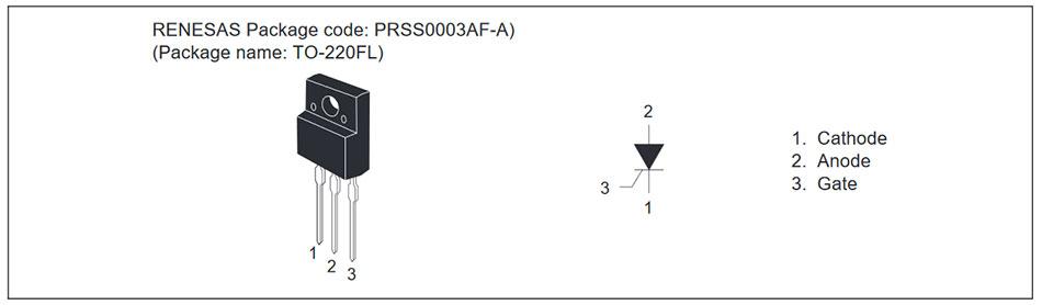 Внешний вид и назначение выводов тиристора CR12LM-12B