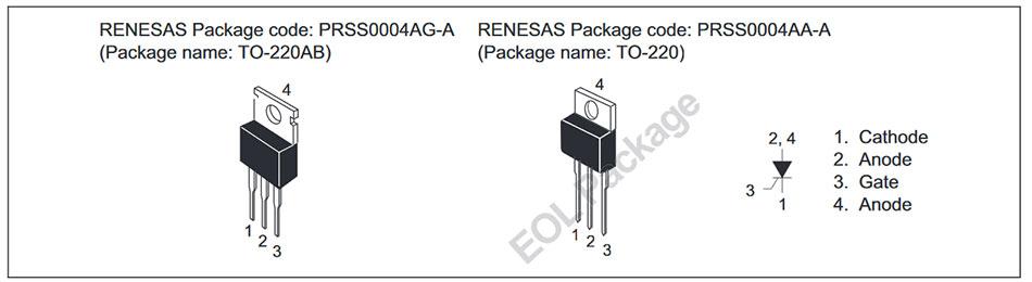 Внешний вид и назначение выводов тиристора CR12CM-12A, CR12CM-12B