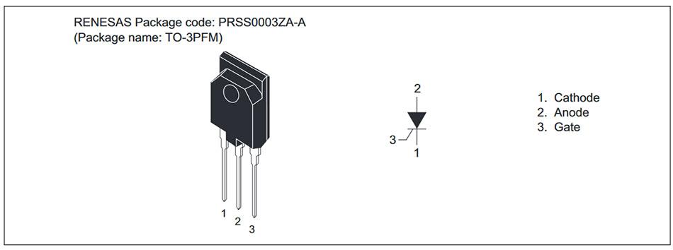 Внешний вид и назначение выводов тиристора CR25RM-12D