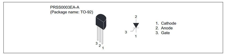 Внешний вид и назначение выводов тиристора CR03AM-16A