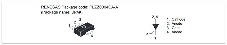 Внешний вид и назначение выводов тиристора CR08AS-12A