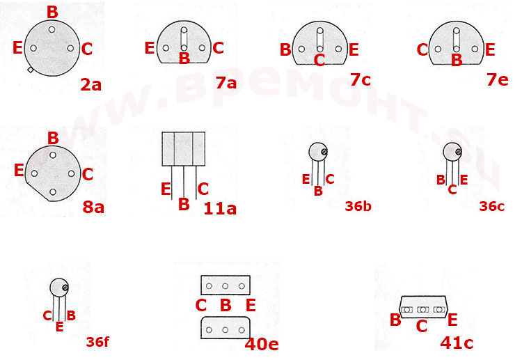 Цоколевка транзисторов BC179p - BC223
