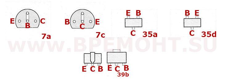 Цоколевка транзисторов BC 818 - BC 880